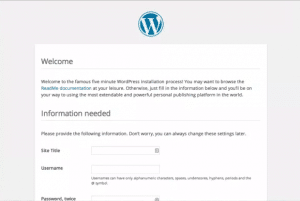 Démarrage de WordPress