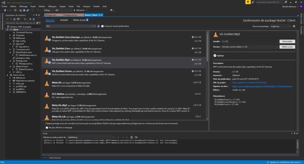 J'ai juste installé Vlc.DotNet.Wpf dans le projet. Les dépendances se sont rajoutées automatiquement.