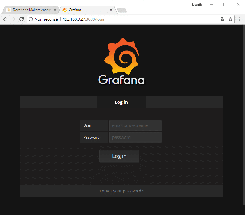 Page Login de Grafana.