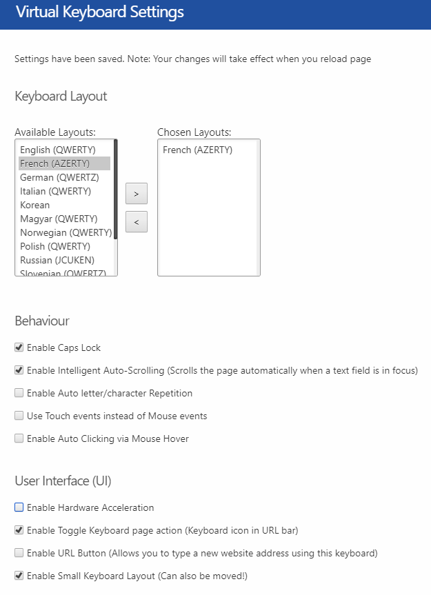 Virtual Keyboard Settings