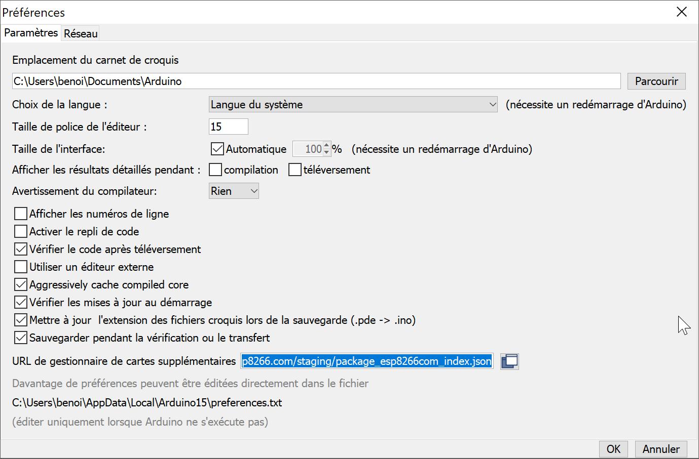 ESP8266 : Configuration de l'IDE Arduino